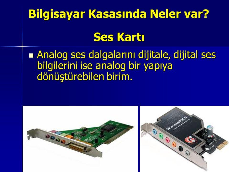 Ses Kartı Analog ses dalgalarını dijitale, dijital ses bilgilerini ise analog bir yapıya dönüştürebilen birim. Analog ses dalgalarını dijitale, dijita