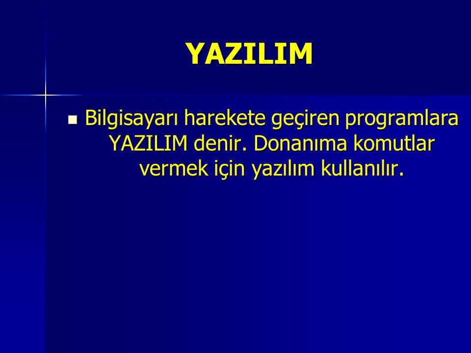 YAZILIM Bilgisayarı harekete geçiren programlara YAZILIM denir. Donanıma komutlar vermek için yazılım kullanılır. Bilgisayarı harekete geçiren program