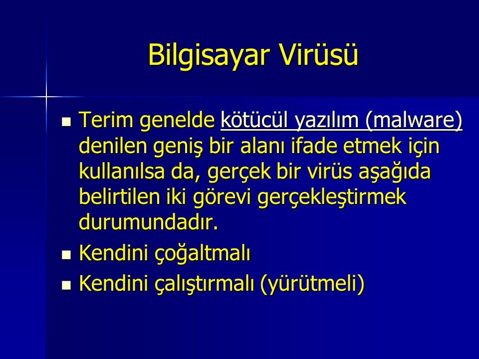 Bilgisayar Virüsü Terim genelde kötücül yazılım (malware) denilen geniş bir alanı ifade etmek için kullanılsa da, gerçek bir virüs aşağıda belirtilen