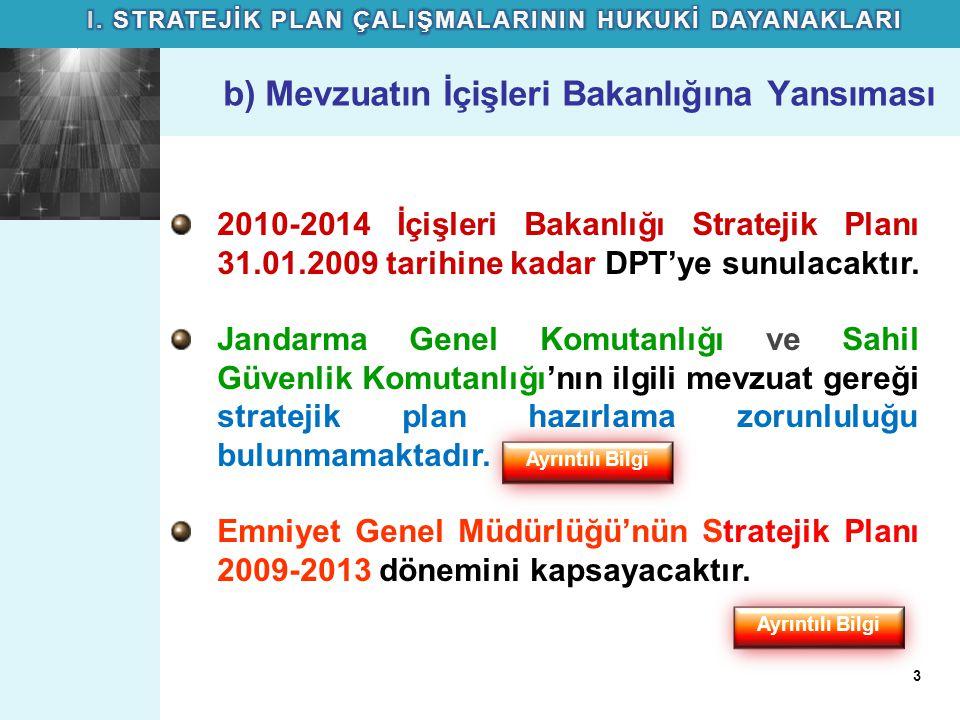 b) Mevzuatın İçişleri Bakanlığına Yansıması 2010-2014 İçişleri Bakanlığı Stratejik Planı 31.01.2009 tarihine kadar DPT'ye sunulacaktır. Jandarma Genel