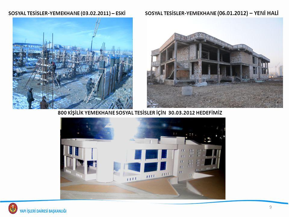 SOSYAL TESİSLER-YEMEKHANE (03.02.2011) – ESKİ SOSYAL TESİSLER-YEMEKHANE (06.01.2012) – YENİ HALİ 9 800 KİŞİLİK YEMEKHANE SOSYAL TESİSLER İÇİN 30.03.20