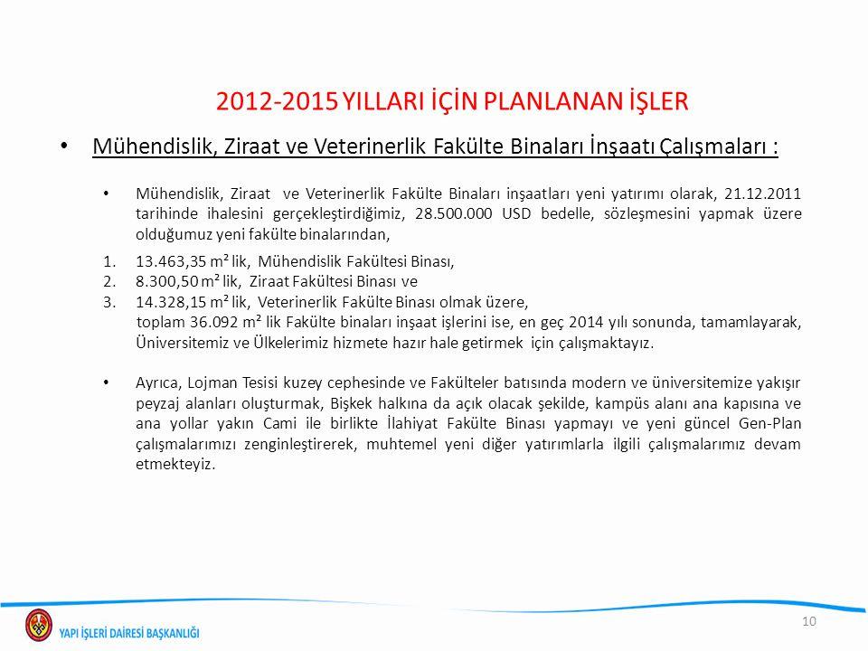 10 2012-2015 YILLARI İÇİN PLANLANAN İŞLER Mühendislik, Ziraat ve Veterinerlik Fakülte Binaları İnşaatı Çalışmaları : Mühendislik, Ziraat ve Veterinerl