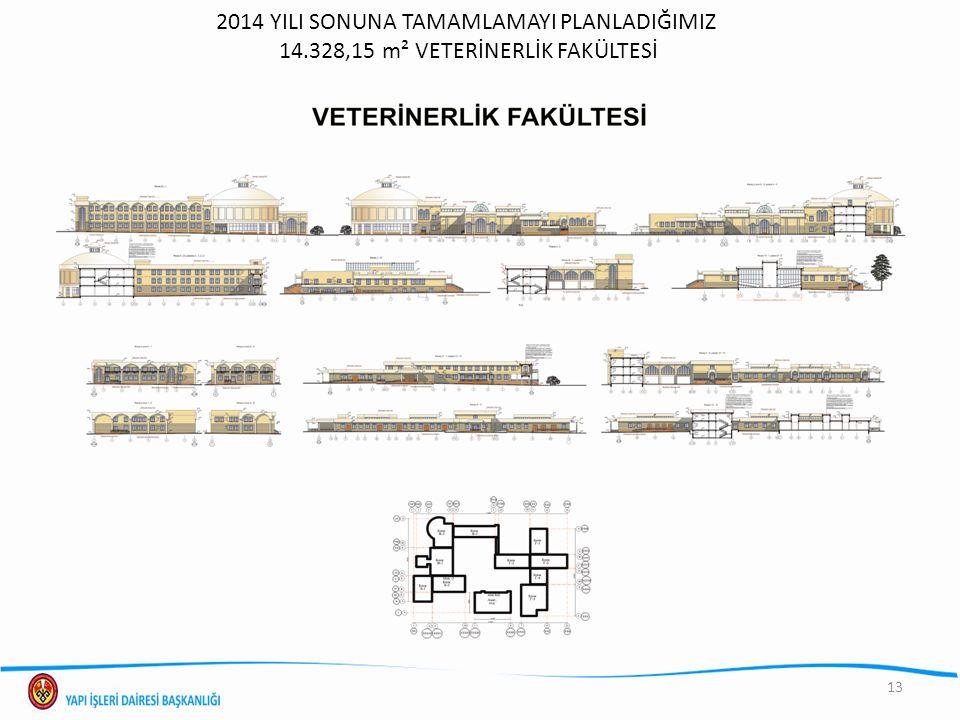 2014 YILI SONUNA TAMAMLAMAYI PLANLADIĞIMIZ 14.328,15 m² VETERİNERLİK FAKÜLTESİ 13