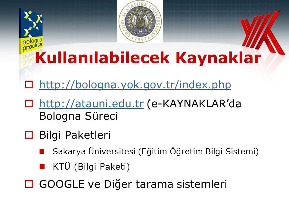 Kullanılabilecek Kaynaklar  http://bologna.yok.gov.tr/index.php http://bologna.yok.gov.tr/index.php  http://atauni.edu.tr (e-KAYNAKLAR'da Bologna Süreci http://atauni.edu.tr  Bilgi Paketleri Sakarya Üniversitesi (Eğitim Öğretim Bilgi Sistemi) KTÜ (Bilgi Paketi)  GOOGLE ve Diğer tarama sistemleri