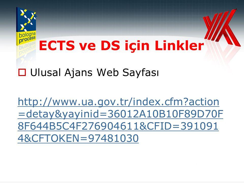 ECTS ve DS için Linkler  Ulusal Ajans Web Sayfası http://www.ua.gov.tr/index.cfm action =detay&yayinid=36012A10B10F89D70F 8F644B5C4F276904611&CFID=391091 4&CFTOKEN=97481030
