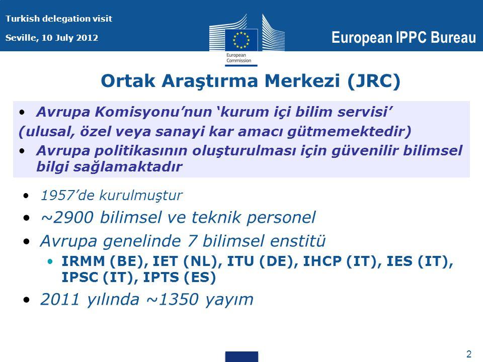 Turkish delegation visit Seville, 10 July 2012 European IPPC Bureau 2 2 Ortak Araştırma Merkezi (JRC) 1957'de kurulmuştur ~2900 bilimsel ve teknik personel Avrupa genelinde 7 bilimsel enstitü IRMM (BE), IET (NL), ITU (DE), IHCP (IT), IES (IT), IPSC (IT), IPTS (ES) 2011 yılında ~1350 yayım Avrupa Komisyonu'nun 'kurum içi bilim servisi' (ulusal, özel veya sanayi kar amacı gütmemektedir) Avrupa politikasının oluşturulması için güvenilir bilimsel bilgi sağlamaktadır