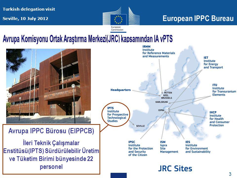 Turkish delegation visit Seville, 10 July 2012 European IPPC Bureau 3 3 Avrupa IPPC Bürosu (EIPPCB) İleri Teknik Çalışmalar Enstitüsü(IPTS) Sürdürülebilir Üretim ve Tüketim Birimi bünyesinde 22 personel