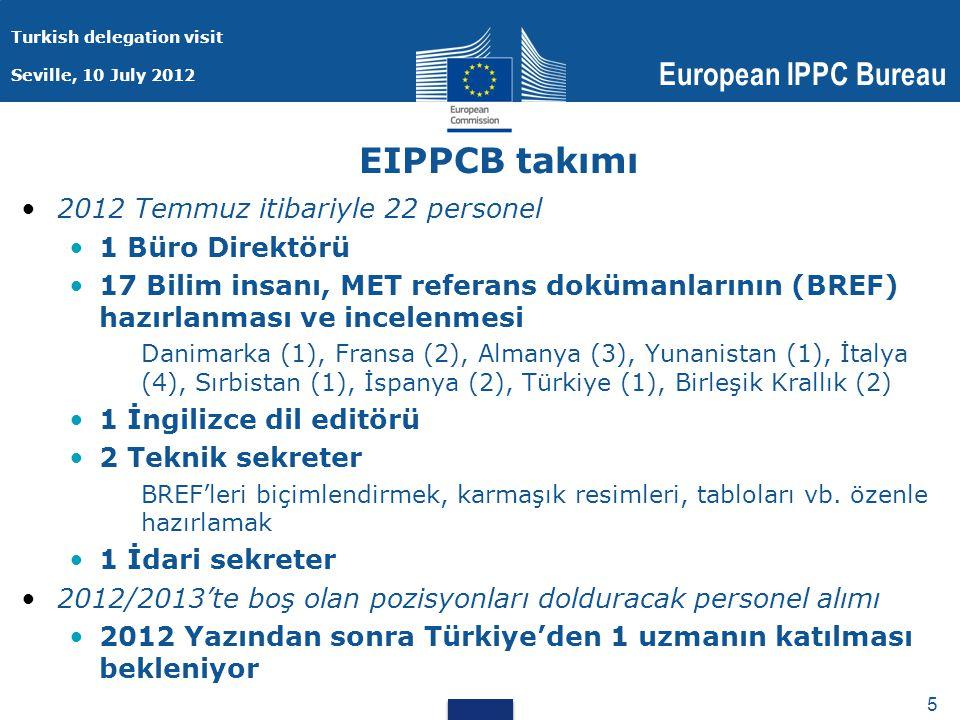 Turkish delegation visit Seville, 10 July 2012 European IPPC Bureau 5 5 EIPPCB takımı 2012 Temmuz itibariyle 22 personel 1 Büro Direktörü 17 Bilim insanı, MET referans dokümanlarının (BREF) hazırlanması ve incelenmesi Danimarka (1), Fransa (2), Almanya (3), Yunanistan (1), İtalya (4), Sırbistan (1), İspanya (2), Türkiye (1), Birleşik Krallık (2) 1 İngilizce dil editörü 2 Teknik sekreter BREF'leri biçimlendirmek, karmaşık resimleri, tabloları vb.