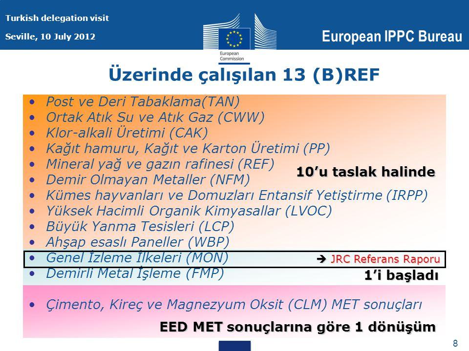 Turkish delegation visit Seville, 10 July 2012 European IPPC Bureau 8 8 Üzerinde çalışılan 13 (B)REF Post ve Deri Tabaklama(TAN) Ortak Atık Su ve Atık Gaz (CWW) Klor-alkali Üretimi (CAK) Kağıt hamuru, Kağıt ve Karton Üretimi (PP) Mineral yağ ve gazın rafinesi (REF) Demir Olmayan Metaller (NFM) Kümes hayvanları ve Domuzları Entansif Yetiştirme (IRPP) Yüksek Hacimli Organik Kimyasallar (LVOC) Büyük Yanma Tesisleri (LCP) Ahşap esaslı Paneller (WBP) Genel İzleme İlkeleri (MON) Demirli Metal İşleme (FMP) Çimento, Kireç ve Magnezyum Oksit (CLM) MET sonuçları 10'u taslak halinde 1'i başladı  JRC Referans Raporu EED MET sonuçlarına göre 1 dönüşüm