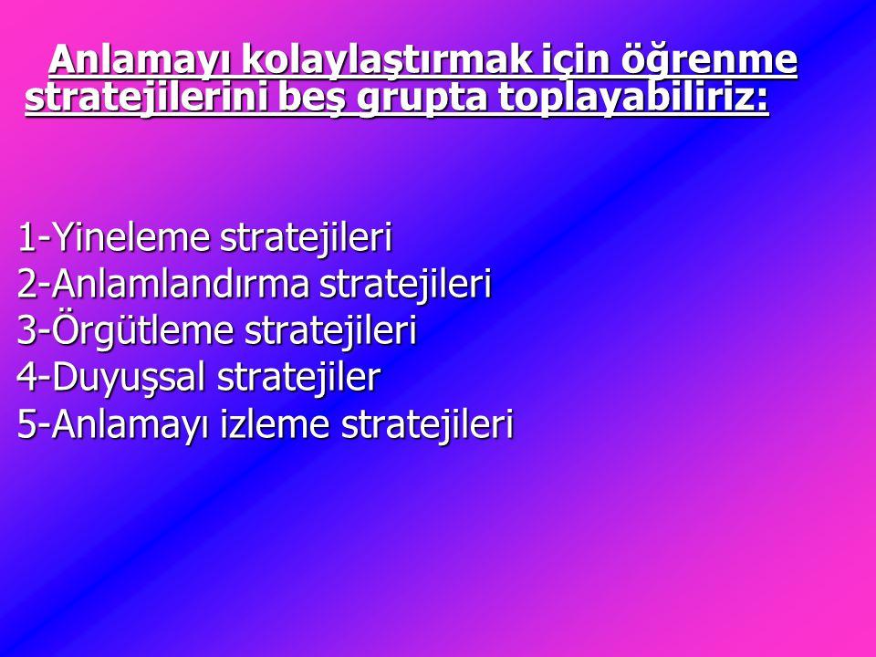 Anlamayı kolaylaştırmak için öğrenme stratejilerini beş grupta toplayabiliriz: Anlamayı kolaylaştırmak için öğrenme stratejilerini beş grupta toplayab