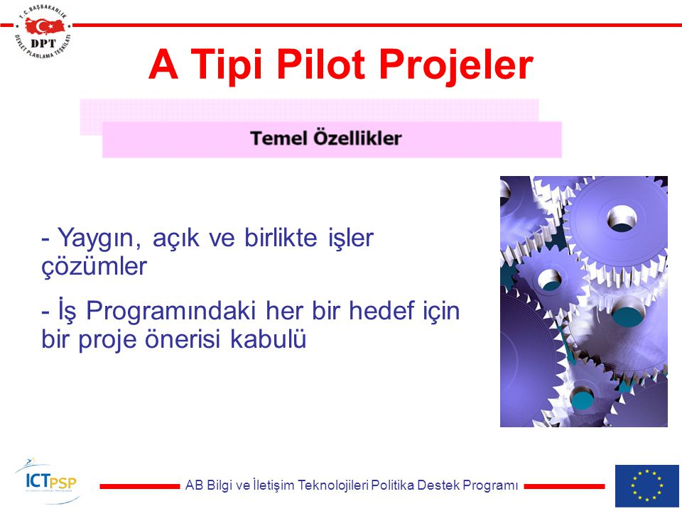 AB Bilgi ve İletişim Teknolojileri Politika Destek Programı A Tipi Pilot Projeler - Yaygın, açık ve birlikte işler çözümler - İş Programındaki her bir hedef için bir proje önerisi kabulü