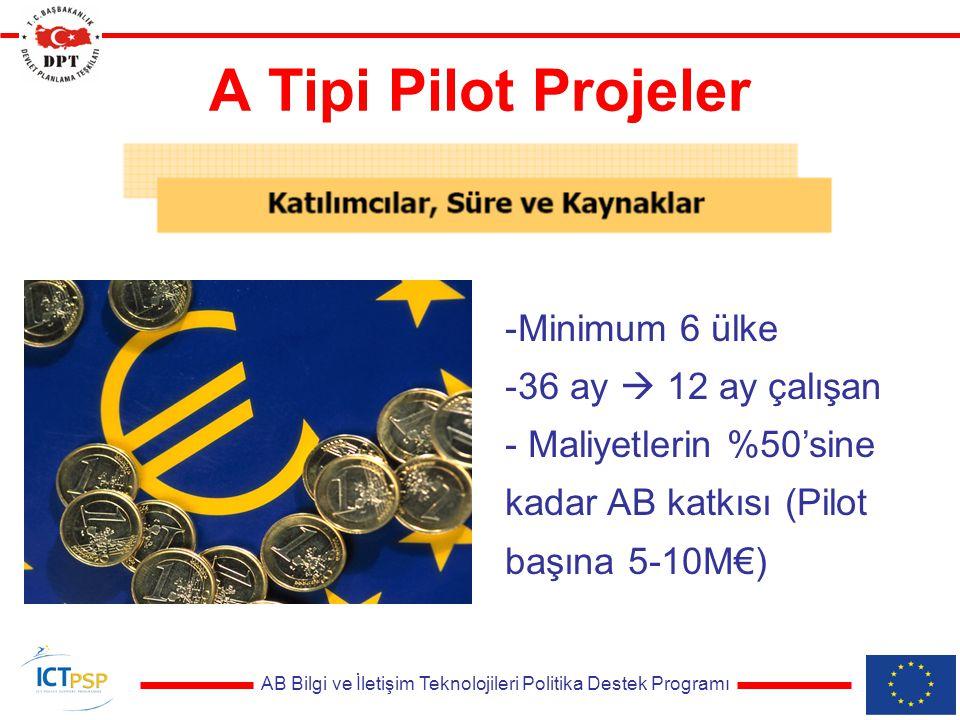 AB Bilgi ve İletişim Teknolojileri Politika Destek Programı A Tipi Pilot Projeler -Minimum 6 ülke -36 ay  12 ay çalışan - Maliyetlerin %50'sine kadar AB katkısı (Pilot başına 5-10M€)