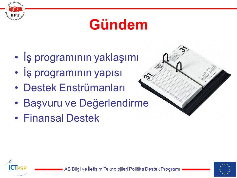 AB Bilgi ve İletişim Teknolojileri Politika Destek Programı Gündem İş programının yaklaşımı İş programının yapısı Destek Enstrümanları Başvuru ve Değerlendirme Finansal Destek