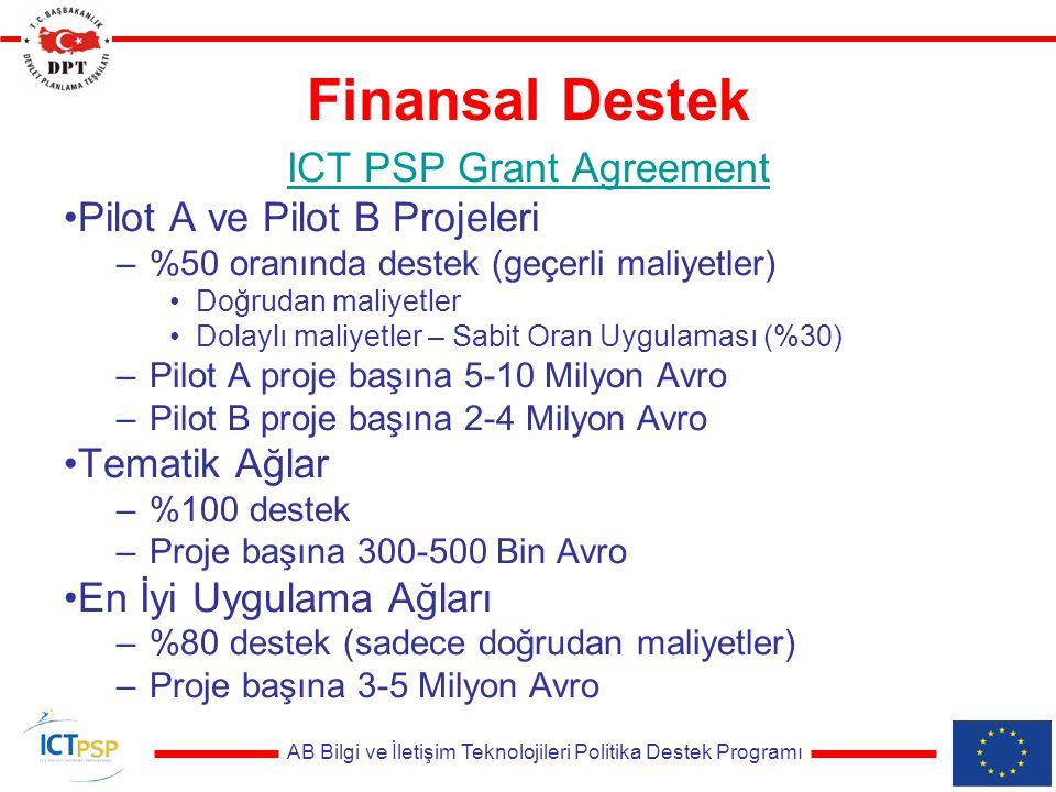 AB Bilgi ve İletişim Teknolojileri Politika Destek Programı Finansal Destek ICT PSP Grant Agreement Pilot A ve Pilot B Projeleri –%50 oranında destek (geçerli maliyetler) Doğrudan maliyetler Dolaylı maliyetler – Sabit Oran Uygulaması (%30) –Pilot A proje başına 5-10 Milyon Avro –Pilot B proje başına 2-4 Milyon Avro Tematik Ağlar –%100 destek –Proje başına 300-500 Bin Avro En İyi Uygulama Ağları –%80 destek (sadece doğrudan maliyetler) –Proje başına 3-5 Milyon Avro