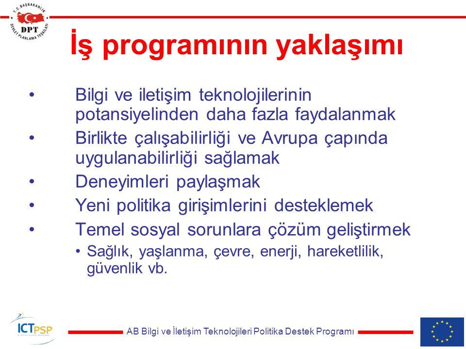 AB Bilgi ve İletişim Teknolojileri Politika Destek Programı İş programının yaklaşımı Bilgi ve iletişim teknolojilerinin potansiyelinden daha fazla faydalanmak Birlikte çalışabilirliği ve Avrupa çapında uygulanabilirliği sağlamak Deneyimleri paylaşmak Yeni politika girişimlerini desteklemek Temel sosyal sorunlara çözüm geliştirmek Sağlık, yaşlanma, çevre, enerji, hareketlilik, güvenlik vb.