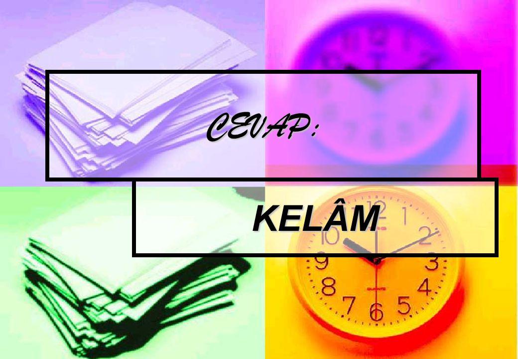 CEVAP: KELÂM