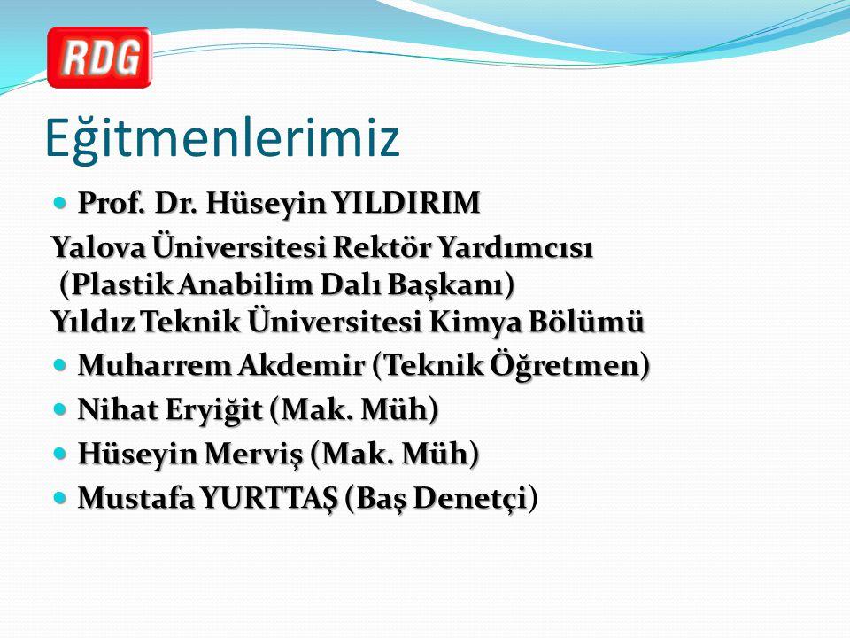 Eğitmenlerimiz Prof. Dr. Hüseyin YILDIRIM Prof. Dr. Hüseyin YILDIRIM Yalova Üniversitesi Rektör Yardımcısı (Plastik Anabilim Dalı Başkanı) Yıldız Tekn