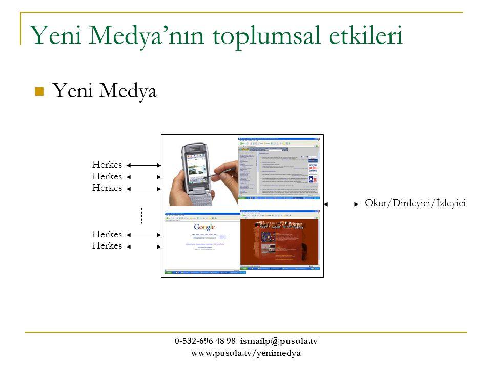 0-532-696 48 98 ismailp@pusula.tv www.pusula.tv/yenimedya Yeni Medya'nın toplumsal etkileri Yeni Medya Okur/Dinleyici/İzleyici Herkes
