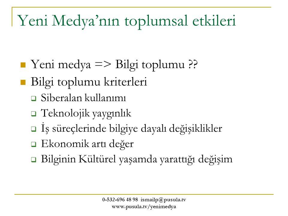 0-532-696 48 98 ismailp@pusula.tv www.pusula.tv/yenimedya Yeni Medya'nın toplumsal etkileri Yeni medya => Bilgi toplumu ?? Bilgi toplumu kriterleri 