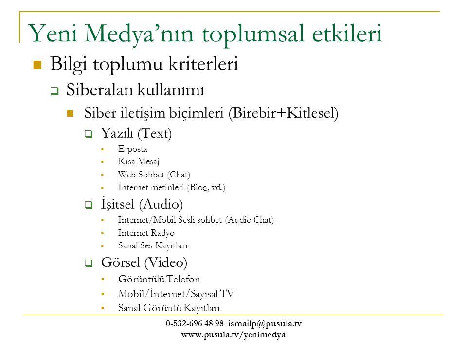 0-532-696 48 98 ismailp@pusula.tv www.pusula.tv/yenimedya Yeni Medya'nın toplumsal etkileri Bilgi toplumu kriterleri  Siberalan kullanımı Siber ileti