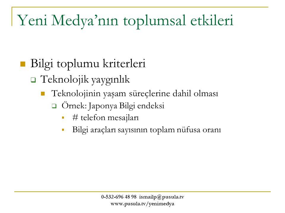 0-532-696 48 98 ismailp@pusula.tv www.pusula.tv/yenimedya Yeni Medya'nın toplumsal etkileri Bilgi toplumu kriterleri  Teknolojik yaygınlık Teknolojin