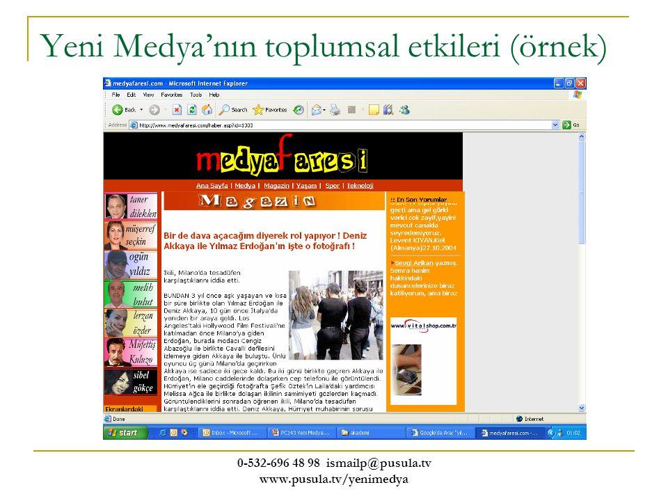 0-532-696 48 98 ismailp@pusula.tv www.pusula.tv/yenimedya Yeni Medya'nın toplumsal etkileri (örnek)