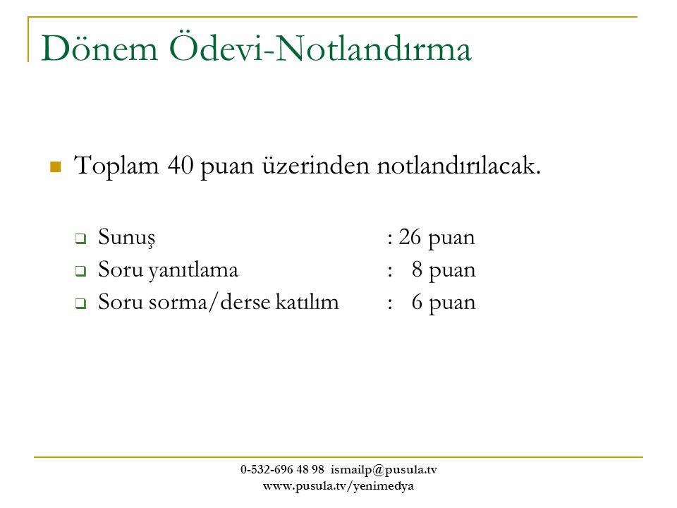 0-532-696 48 98 ismailp@pusula.tv www.pusula.tv/yenimedya Dönem Ödevi-Notlandırma Toplam 40 puan üzerinden notlandırılacak.  Sunuş: 26 puan  Soru ya