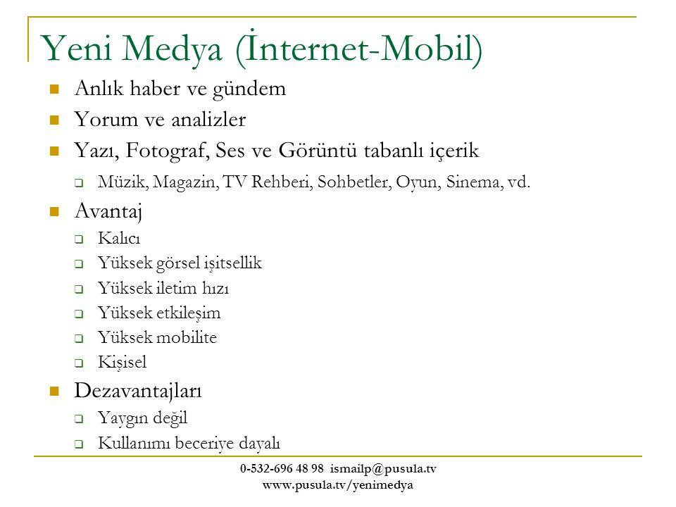 0-532-696 48 98 ismailp@pusula.tv www.pusula.tv/yenimedya Yeni Medya (İnternet-Mobil) Anlık haber ve gündem Yorum ve analizler Yazı, Fotograf, Ses ve