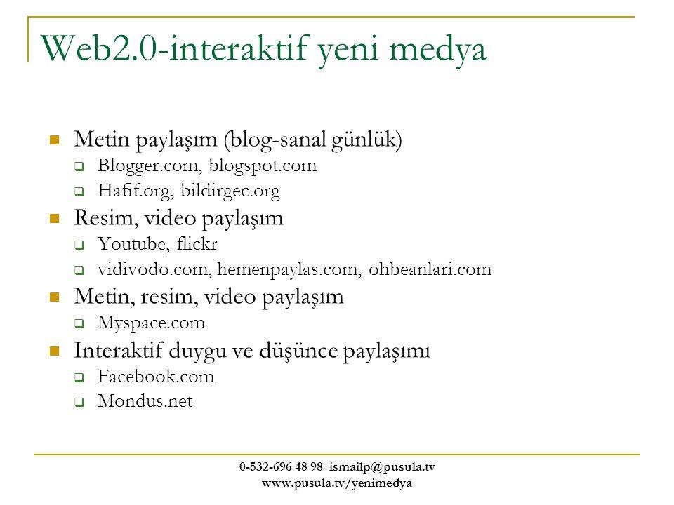 0-532-696 48 98 ismailp@pusula.tv www.pusula.tv/yenimedya Web2.0-interaktif yeni medya Metin paylaşım (blog-sanal günlük)  Blogger.com, blogspot.com