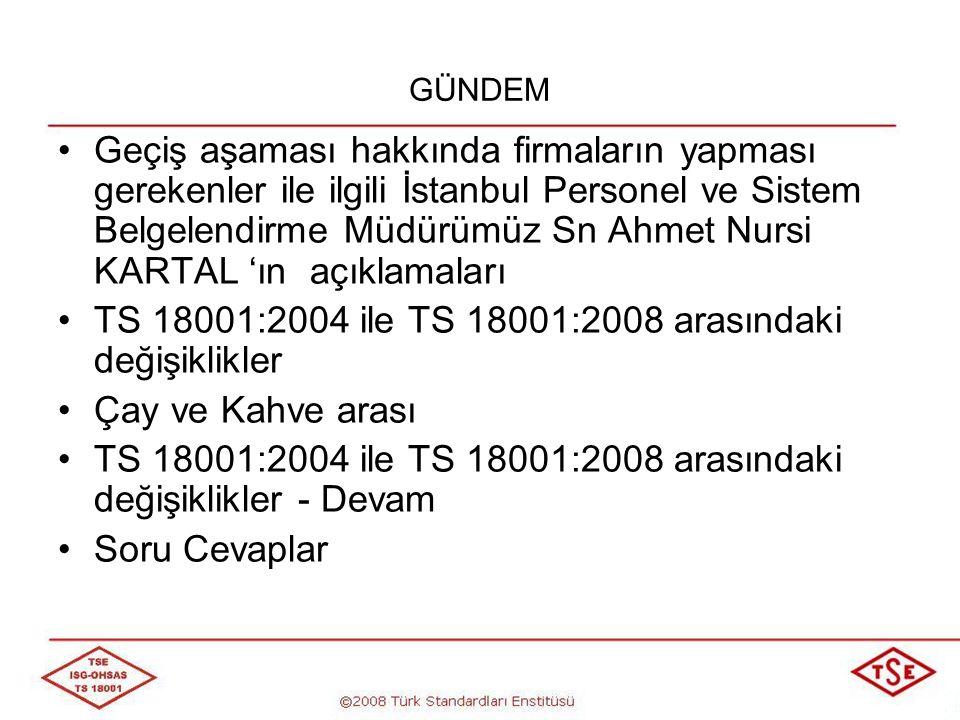 TS 18001:2004 TS 18001:2008 1.KAPSAM Bu standardın bütün şartlarının, herhangi bir İSG yönetim sistemine dahil edilmesi amaçlanmıştır.