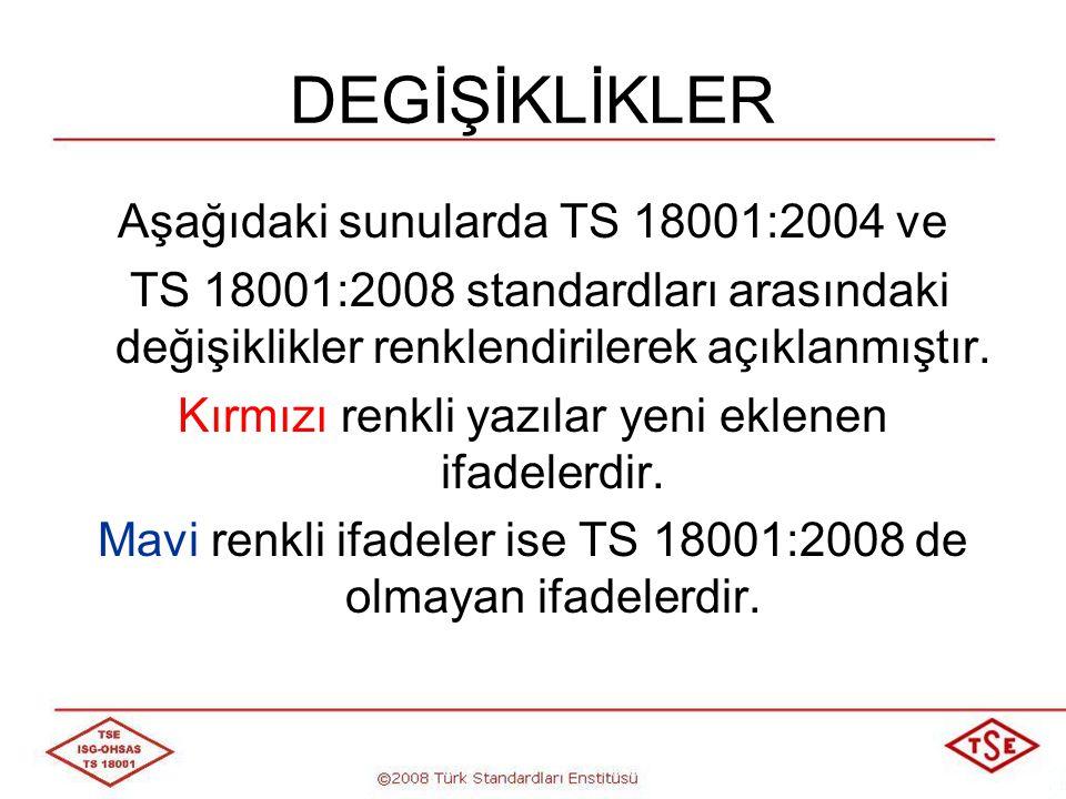 TS 18001:2004 TS 18001:2008 4.2 İSG Politikası a) Kuruluşun İSG risklerinin yapısına ve büyüklüğüne uygun olmalı; b) Sürekli iyileştirme için bir taahhüt içermeli; c) En azından yürürlükteki İSG mevzuatına ve üyesi olduğu kuruluşların şartlarına uyulacağı taahhüdünü içermeli; a) Kuruluşun İSG risklerinin yapısına ve büyüklüğüne uygun olmalı, b) Yaralanmaların ve sağlık bozulmalarının önlenmesi ve İSG yönetiminin ve İSG performansının sürekli iyileştirilmesi için bir taahhüt içermeli, c) En azından yürürlükteki İSG mevzuatına ve üyesi olduğu kuruluşların şartlarına uyulacağı taahhüdünü içermeli,