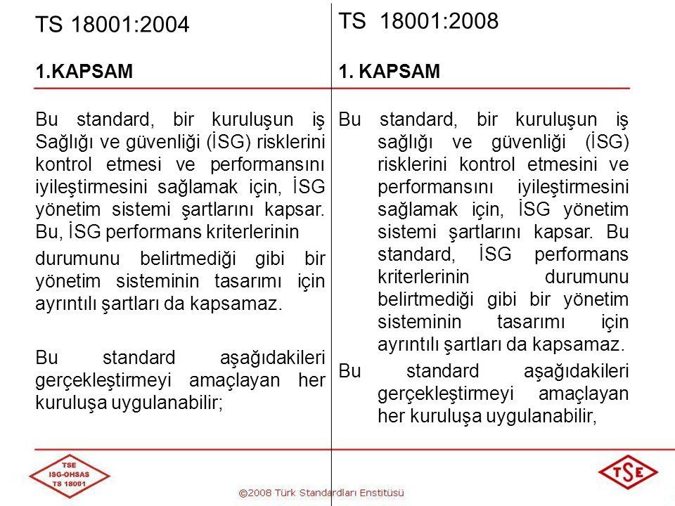 TS 18001:2004 TS 18001:2008 1.KAPSAM a) Kuruluşun faaliyetleri ile ilgili olarak, İSG risklerine maruz kalabilecek çalışanlar ve ilgili diğer taraflar için riskleri yok etmek veya en aza indirmek üzere bir İSG yönetim sistemi oluşturmak, b) Bir İSG yönetim sistemini kurmak, uygulamak ve sürekli iyileştirmek, c) Kuruluşun beyan ettiği İSG politikasına uygunluk konusunda kendine güvence sağlamak, a) Kuruluşun faaliyetleri ile ilgili olarak, İSG risklerine maruz kalabilecek çalışanlar ve ilgili diğer taraflar için riskleri yok etmek veya en aza indirmek üzere bir İSG yönetim sistemi oluşturmak, b) Bir İSG yönetim sistemini kurmak, uygulamak ve sürekli iyileştirmek, c) Kuruluşun beyan ettiği İSG politikasına uygunluk konusunda kendine güvence sağlamak,