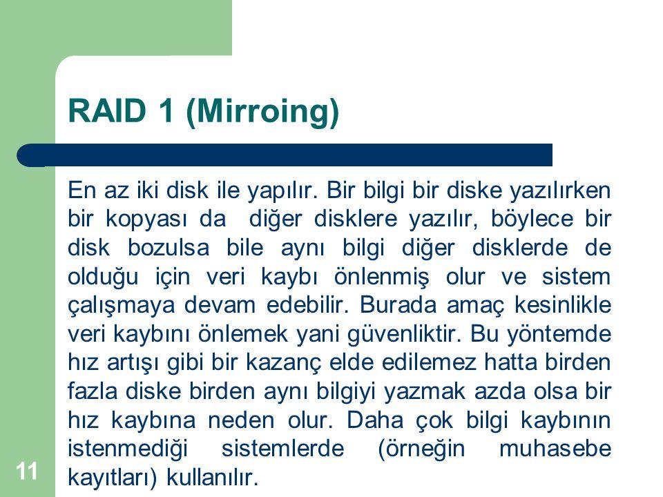 11 RAID 1 (Mirroing) En az iki disk ile yapılır. Bir bilgi bir diske yazılırken bir kopyası da diğer disklere yazılır, böylece bir disk bozulsa bile a