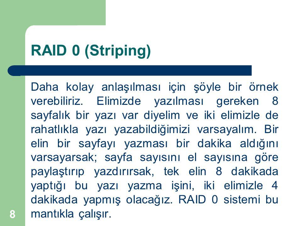8 RAID 0 (Striping) Daha kolay anlaşılması için şöyle bir örnek verebiliriz. Elimizde yazılması gereken 8 sayfalık bir yazı var diyelim ve iki elimizl