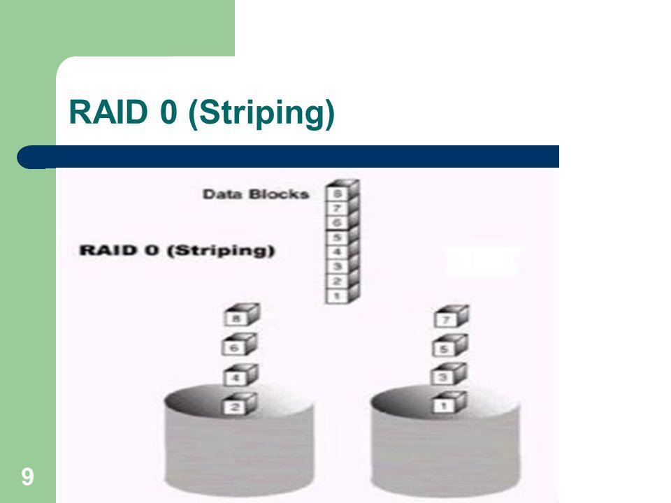 10 RAID 0 (Striping) RAID 0 kullanıldığında toplam kapasite disk sayısı kadar artarken, hızda bu disk sayısına oranla artacağı için ciddi bir performans artışı yakalamış oluruz.