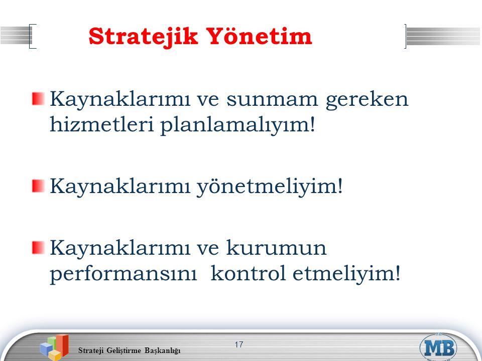 Strateji Geliştirme Başkanlığı 17 Stratejik Yönetim Kaynaklarımı ve sunmam gereken hizmetleri planlamalıyım! Kaynaklarımı yönetmeliyim! Kaynaklarımı v