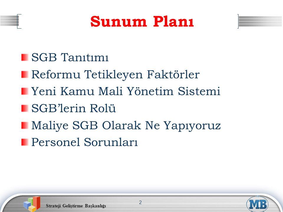 Strateji Geliştirme Başkanlığı 2 Sunum Planı SGB Tanıtımı Reformu Tetikleyen Faktörler Yeni Kamu Mali Yönetim Sistemi SGB'lerin Rolü Maliye SGB Olarak