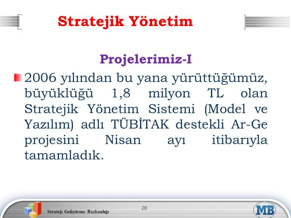 Strateji Geliştirme Başkanlığı 28 Stratejik Yönetim Projelerimiz-I 2006 yılından bu yana yürüttüğümüz, büyüklüğü 1,8 milyon TL olan Stratejik Yönetim