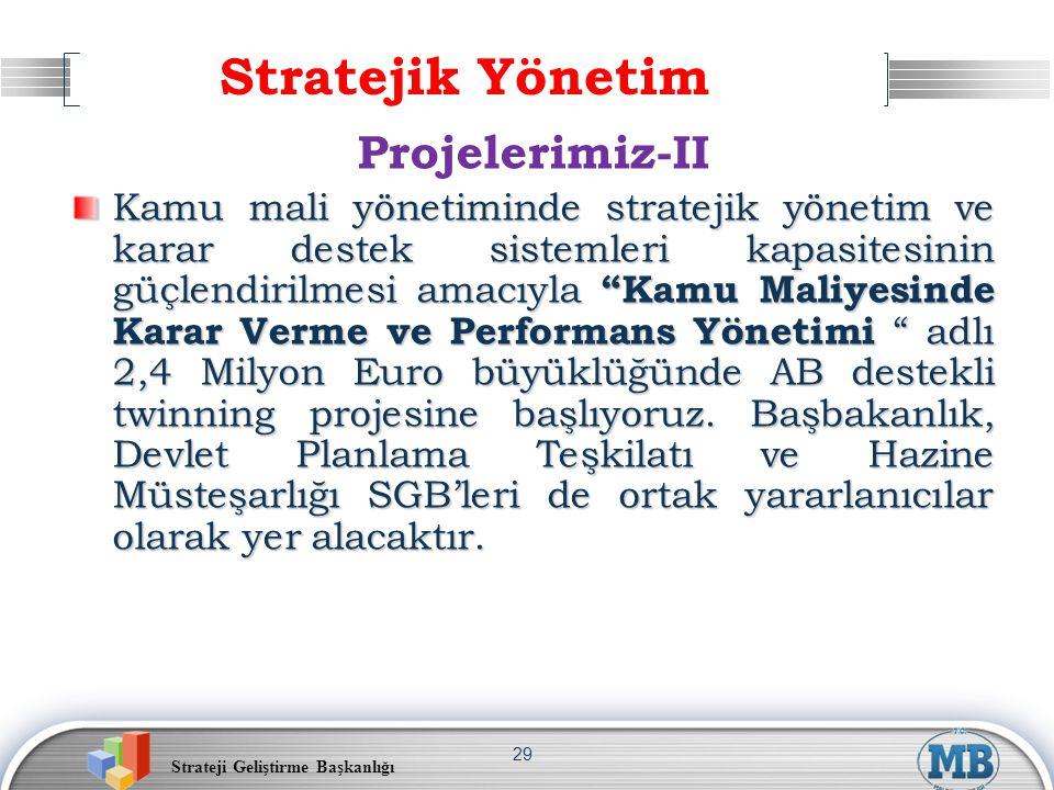 Strateji Geliştirme Başkanlığı 29 Stratejik Yönetim Projelerimiz-II Kamu mali yönetiminde stratejik yönetim ve karar destek sistemleri kapasitesinin g