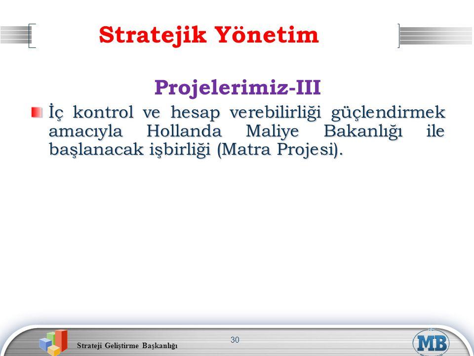 Strateji Geliştirme Başkanlığı 30 Stratejik Yönetim Projelerimiz-III İç kontrol ve hesap verebilirliği güçlendirmek amacıyla Hollanda Maliye Bakanlığı