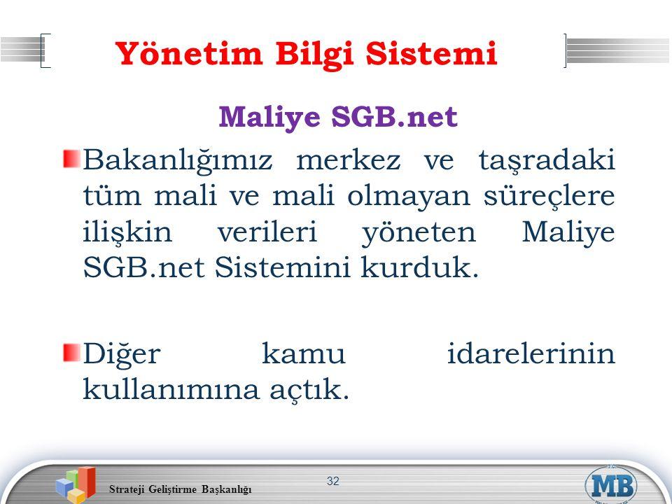 Strateji Geliştirme Başkanlığı 32 Yönetim Bilgi Sistemi Maliye SGB.net Bakanlığımız merkez ve taşradaki tüm mali ve mali olmayan süreçlere ilişkin ver