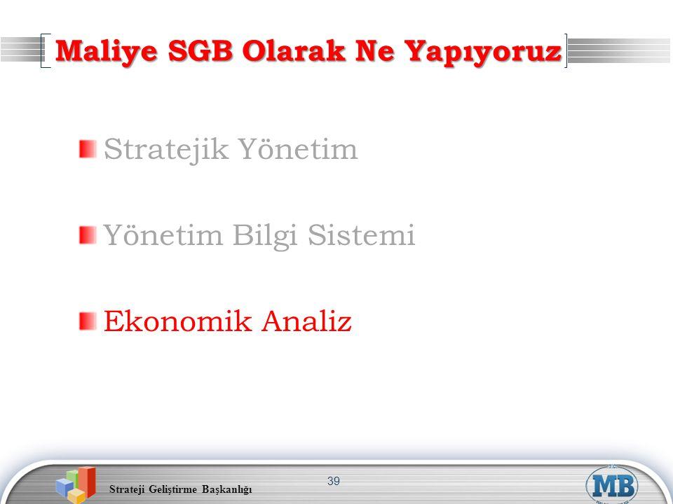 Strateji Geliştirme Başkanlığı 39 Stratejik Yönetim Yönetim Bilgi Sistemi Ekonomik Analiz Maliye SGB Olarak Ne Yapıyoruz