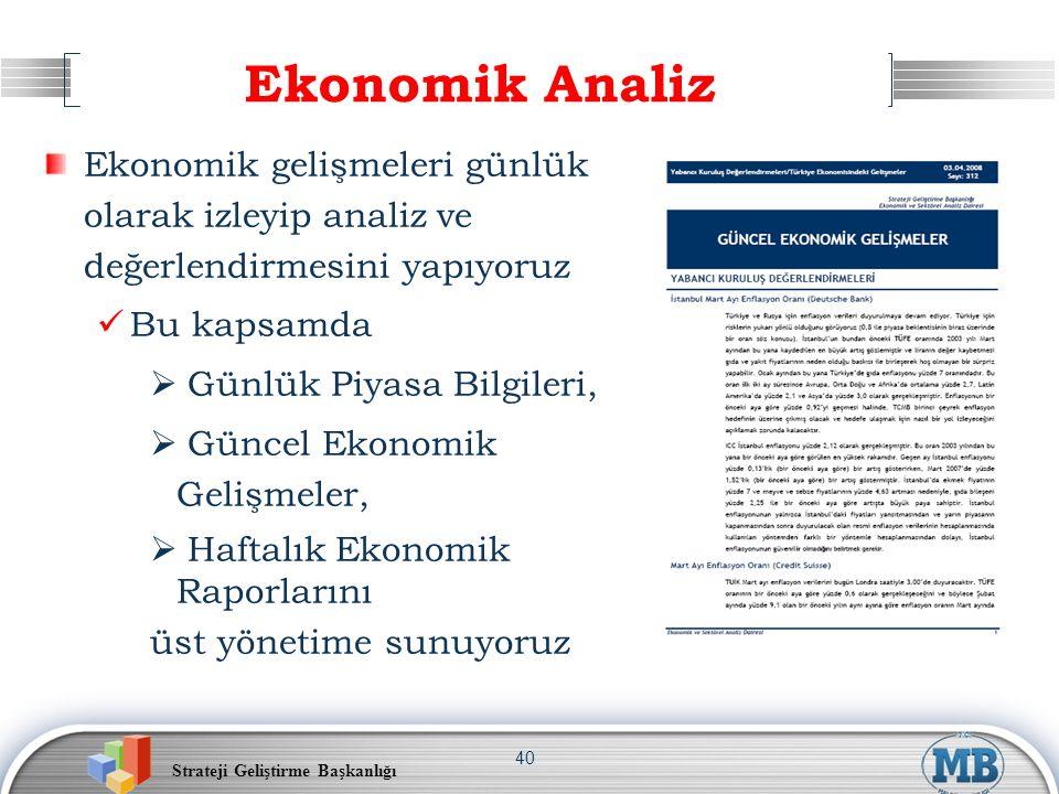 Strateji Geliştirme Başkanlığı 40 Ekonomik Analiz Ekonomik gelişmeleri günlük olarak izleyip analiz ve değerlendirmesini yapıyoruz Bu kapsamda  Günlü