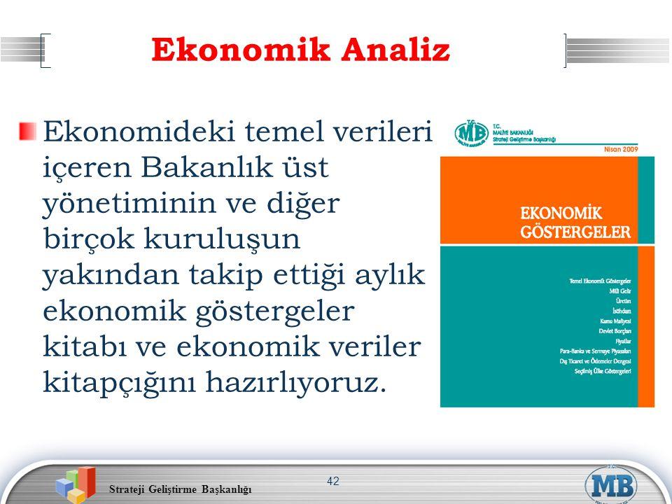 Strateji Geliştirme Başkanlığı 42 Ekonomik Analiz Ekonomideki temel verileri içeren Bakanlık üst yönetiminin ve diğer birçok kuruluşun yakından takip
