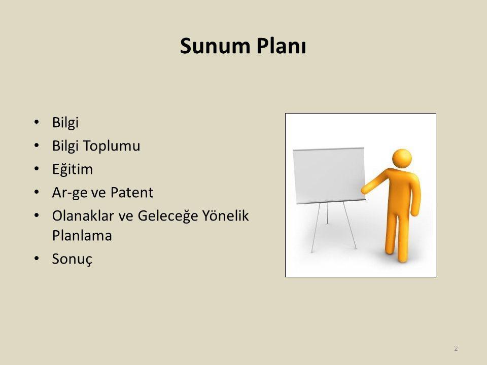 Sunum Planı Bilgi Bilgi Toplumu Eğitim Ar-ge ve Patent Olanaklar ve Geleceğe Yönelik Planlama Sonuç 2