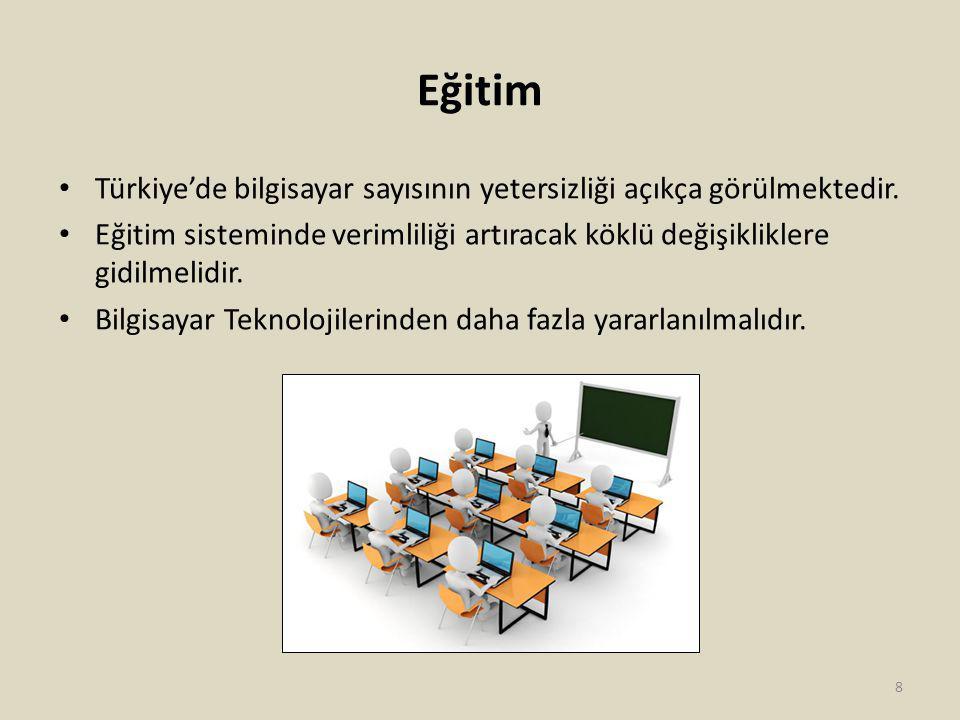 Eğitim Türkiye'de bilgisayar sayısının yetersizliği açıkça görülmektedir.