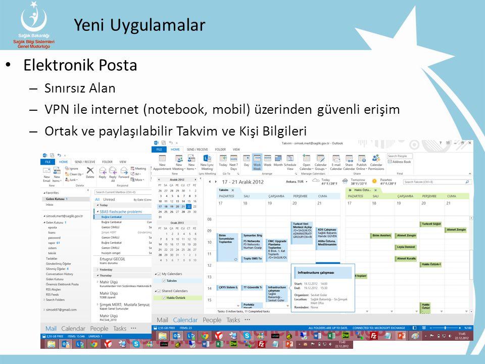 Yeni Uygulamalar Elektronik Posta – Sınırsız Alan – VPN ile internet (notebook, mobil) üzerinden güvenli erişim – Ortak ve paylaşılabilir Takvim ve Ki