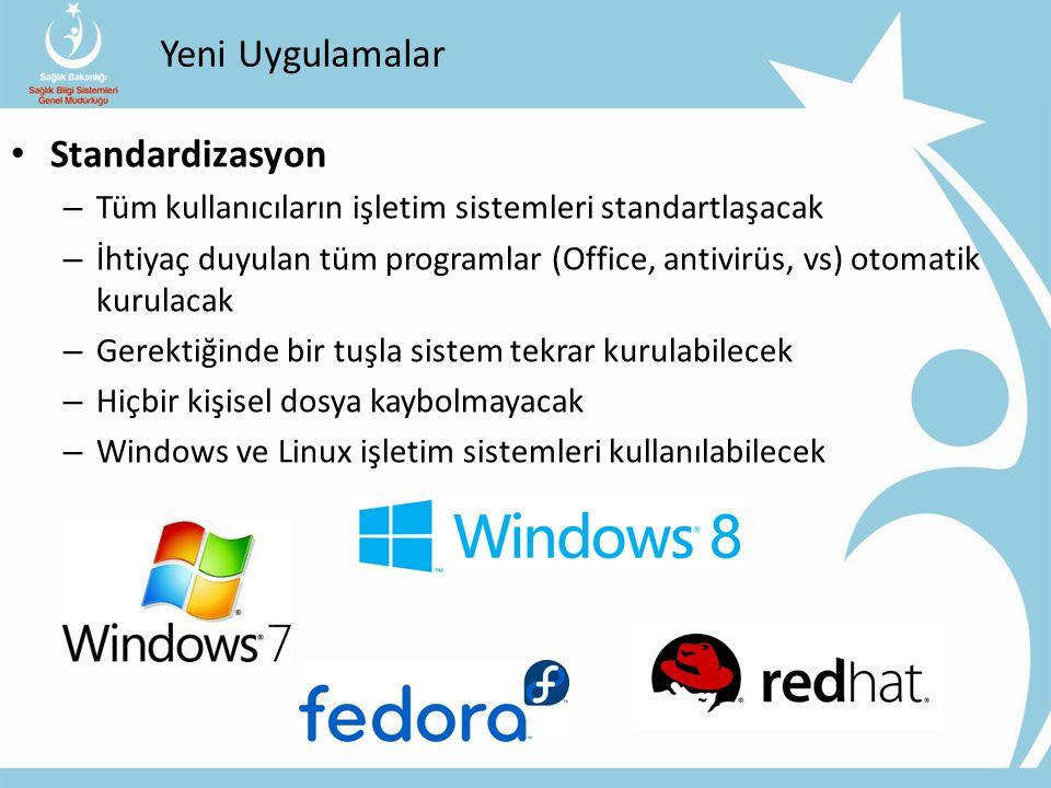 Yeni Uygulamalar Standardizasyon – Tüm kullanıcıların işletim sistemleri standartlaşacak – İhtiyaç duyulan tüm programlar (Office, antivirüs, vs) otom