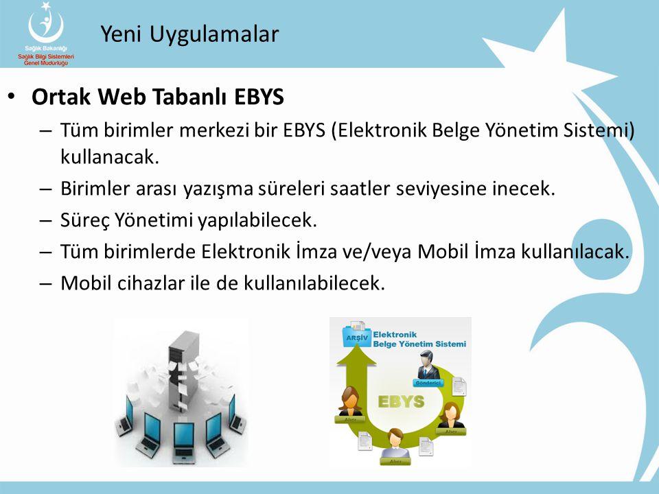 Yeni Uygulamalar Ortak Web Tabanlı EBYS – Tüm birimler merkezi bir EBYS (Elektronik Belge Yönetim Sistemi) kullanacak. – Birimler arası yazışma sürele