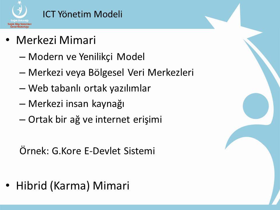 ICT Yönetim Modeli Merkezi Mimari – Modern ve Yenilikçi Model – Merkezi veya Bölgesel Veri Merkezleri – Web tabanlı ortak yazılımlar – Merkezi insan k